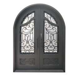 Iron Round Top Baroque-Inspired Dual Door with Frame & Threshold - 72 x 96 Inches - Aged Bronze - ALEKO