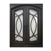 Iron Square Top Curvature-Designed Dual Door with Frame and Threshold - 72 x 6 x 96 Inches - Aged Bronze - ALEKO