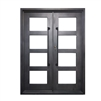 Iron Square Top Minimalist Glass-Panel Dual Door with Frame and Threshold - 72 x 6 x 96 inches - Nickel - ALEKO
