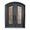 Iron Woven Dual Door with Arched Top Frame and Threshold - 81 x 62 x 6 Inches - Rustic Bronze - ALEKO