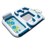 Inflatable Floating Island Lounge Raft with Cup Holders and Coolers - Tropical Breeze - 6 Person - ALEKO