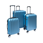 ALEKO  3-Piece Blue ABS Luggage Travel Suitcase Bag Set With Lock