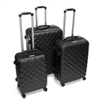 ABS Luggage Travel Suitcase Set with Lock - 3 Piece - Diamond Pattern - Black - ALEKO