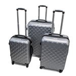ABS Luggage Travel Suitcase Set with Lock - 3 Piece - Diamond Pattern - Silver - ALEKO