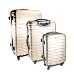 ABS Luggage Travel Suitcase Set with Lock - 3 Piece - Horizontal Stripe - Champagne - ALEKO