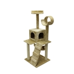 ALEKO® MP-07 120 cm Height Cat Tree Condo Scratching Post<br>Colors: Beige