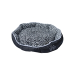 ALEKO® PB05M Medium Soft Plush Pet Cushion Crate Bed With Removable Insert Pillow, Black and White Leopard Print