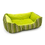ALEKO® PB06STGR 20 X 16 X 6 Inch (51 X 41 X 15 cm) Soft Plush Pet Cushion Crate Bed, Green Stripes