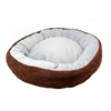 Extra Plush Round Dog Bed with Removable Pillow - 22 x 17.5 Inches - Brown and Gray - ALEKO