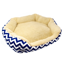 Plush Round Dog Bed with Extra Tall Sides - 22 x 18 Inches - Cream with Blue and White Zigzag - ALEKO