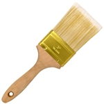 Flat-Cut Polyester Paint Brush with Wooden Handle - Gold-Plated Steel Ferrule - 3 Inches - ALEKO