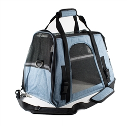 Portable Heavy Duty Pet Travel Shoulder Carrier Bag - Blue and Black - ALEKO