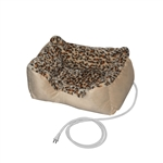 ALEKO® PBH20X16X8 20 X 16 X 8 Inches (51 X 40.6 X 20.3 cm) Warm Soft Leopard Print Thermo-Pad Crate Padded Heated Pet Bed