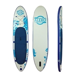 Inflatable Stand Up Wide Deck Paddle Board with Carry Bag and SUP Accessories - Youth and Adult - Double Layer - Blue and White - ALEKO