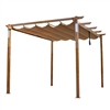 Aluminum Outdoor Retractable Pergola with Solar Powered LED Lamps and Wooden Finish  - 13 x 10 Ft - Sand - ALEKO