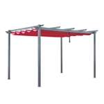Aluminum Outdoor Retractable Pergola Canopy  - 13 x 10 Ft - Burgundy Color