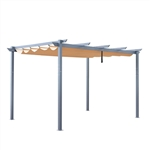 Aluminum Outdoor Retractable Pergola Canopy  - 13 x 10 Ft - Sand Color