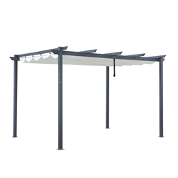 Aluminum Outdoor Retractable Pergola Canopy  - 13 x 10 Ft - Cream White Color
