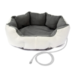 ALEKO® PHBED21M Soft White Gray Heated Padded Pet Bed 26 X 26 X 8 Inches (66 X 66 X 20 cm)
