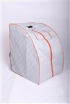 ALEKO PIN11SY Personal Folding Portable Home ETL Infrared Sauna with Folding Chair and Foot Pad, Silver with Orange Trim Color
