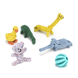 Dog Rope Toy 6-Pack With Animals and Rubber Ball - ALEKO