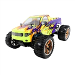Off-Road 4WD Electric Powered RC Monster Truck - 1:10 Scale - Purple and Yellow Flame Design - ALEKO
