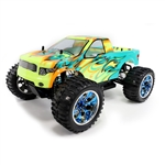 Off-Road 4WD Electric Powered RC Monster Truck - 1:10 Scale - Blue Flame Design - ALEKO
