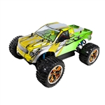Brushless PRO Off-Road 4WD Electric Powered RC Truck - 1:10 Scale - Green and Yellow Flame Design - ALEKO