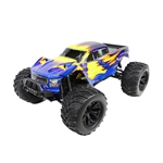 Off-Road 4WD Electric Powered RC Monster Truck - 1:10 Scale - Blue with Yellow Flame Design - ALEKO