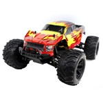 XL Off-Road 4WD Electric Powered RC Monster Truck - 1:10 Scale - Red with Yellow Flame Design - ALEKO