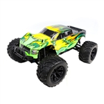 Off-Road 4WD Electric Powered RC Monster Truck - 1:10 Scale - Green with Yellow Flame Design - ALEKO