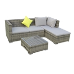 Rattan Wicker 3-Piece Indoor/Outdoor Sectional Furniture Lounge and Storage Table Set - Gray - ALEKO