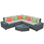 Rattan Wicker 6-Piece Indoor/Outdoor Sectional Furniture Lounge and Coffee Table Set - Gray with Accent Pillows - ALEKO