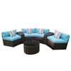 Rattan Wicker 7-Piece Indoor/Outdoor Modular Sectional Furniture Lounge and Coffee Table Set - Brown and Blue - ALEKO