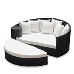 Rattan Wicker Furniture Outdoor Daybed Set with Ottoman - Black with Cream Cushions - ALEKO