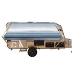 Retractable RV/Patio Awning - 10 x 8 Feet - Blue Striped - ALEKO