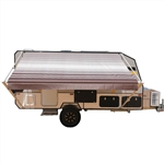 Retractable RV/Patio Awning - 16 x 8 Feet - Brown Striped - ALEKO