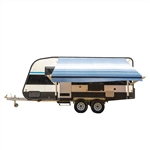 Motorized Retractable RV/Patio Awning - 12 x 8 Feet - Blue Striped - ALEKO