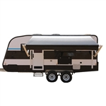 Motorized Retractable RV/Patio Awning - 8 x 8 Feet - White/Black Fade - ALEKO