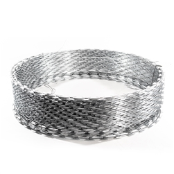 Heavy Duty Razor Ribbon Barbed Wire - 33 Loops - 50 feet long - Silver - ALEKO