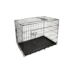 Dividable Folding Dog Cage With ABS Tray - 3-Door - 36 Inches - ALEKO