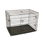 Dividable Folding Dog Cage With ABS Tray - 3-Door - 48 Inches - ALEKO