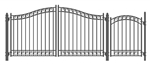 Set of ALEKO® DUBLIN Style Steel Swing Dual Driveway 3.7 m with Pedestrian Gate 1.2 m