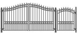 Set of ALEKO® LONDON Style Steel Swing Dual Driveway 12 ft with Pedestrian Gate 4 ft