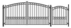 Set of ALEKO® PARIS Style Steel Swing Dual Driveway 12 ft with Pedestrian Gate 4 ft
