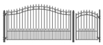 Set of ALEKO® ST.PETERSBURG Style Steel Swing Single Driveway 3.7m with Pedestrian Gate 1.2 m