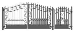 Set of ALEKO® VENICE Style Steel Swing Dual Driveway 12 ft with Pedestrian Gate 4 ft