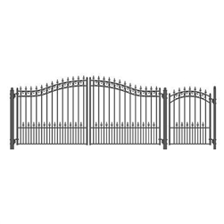 Set of ALEKO® PRAGUE Style Steel Swing Dual Driveway 14 ft with Pedestrian Gate 4 ft