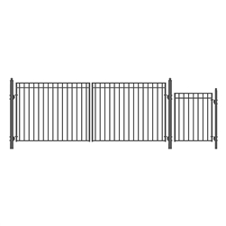 Set of ALEKO® MADRID Style Steel Swing Dual  Driveway 4.9 m with Pedestrian Gate 1.2 m