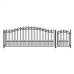 Set of ALEKO® PRAGUE Style Steel Swing Single Driveway 4.9m with Pedestrian Gate 1.2 m